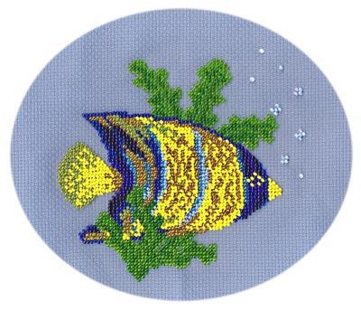 """Набор для вышивания крестом и бисером Кларт  """"Рыбка-ангел """" ."""