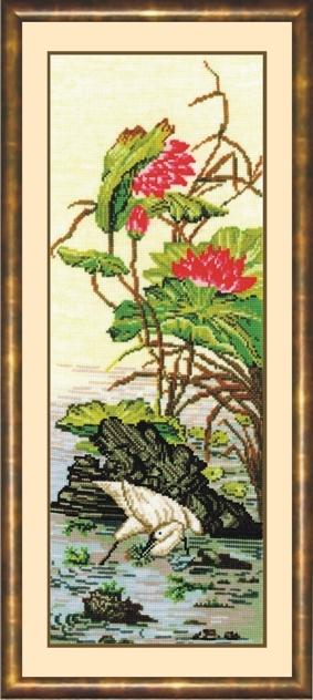 Канва Аида хлопок 50 кл в 10 см, нитки-шерсть 25 цветов, схема цветная символьная, инструкция.