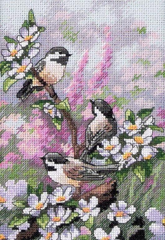 Если же возникла...  Птички на цветущей ветке.  Вышивка крестом, схемы. источник.  Прочитать целикомВ.