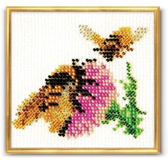 """Бисерная игла.  Набор для вышивания бисером  """"Чертополох """".  Бисер, Чехия.  Цветная схема."""