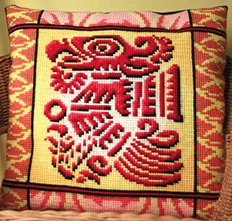 """В PANNA набор для вышивания  """"подушка """" входят: канва  """"Gamma """" страмин К06, нитки акриловые, игла  """"Gamma', цветная схема..."""