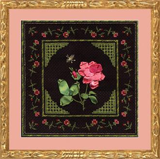 В состав набора входит: канва черного цвета, 3 иглы - для вышивания мулине и бисером и для лент, мулине...